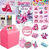 Girls Party Bags - Super Girl Filled Pink Party Bag Box Kids Birthday Wedding Gifts Favours For Children