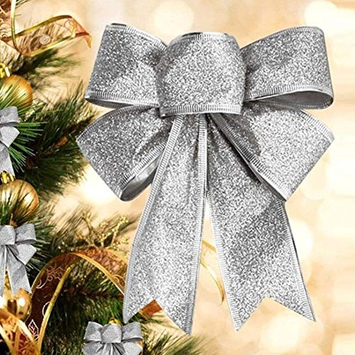 CHDHALTD 10 Pack Christmas Bow for Santa Decorations, Gifts & Presents Wrapping, Hanging Door Decor with Wire, Christmas Tree, Party Supply (Silver) by CHDHALTD (Image #2)