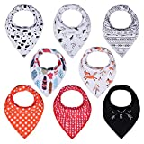 PPOGOO Baby Bandana Drool Bibs Unisex 8 Pack Gift Set for Boys and Girls made of 100% cotton