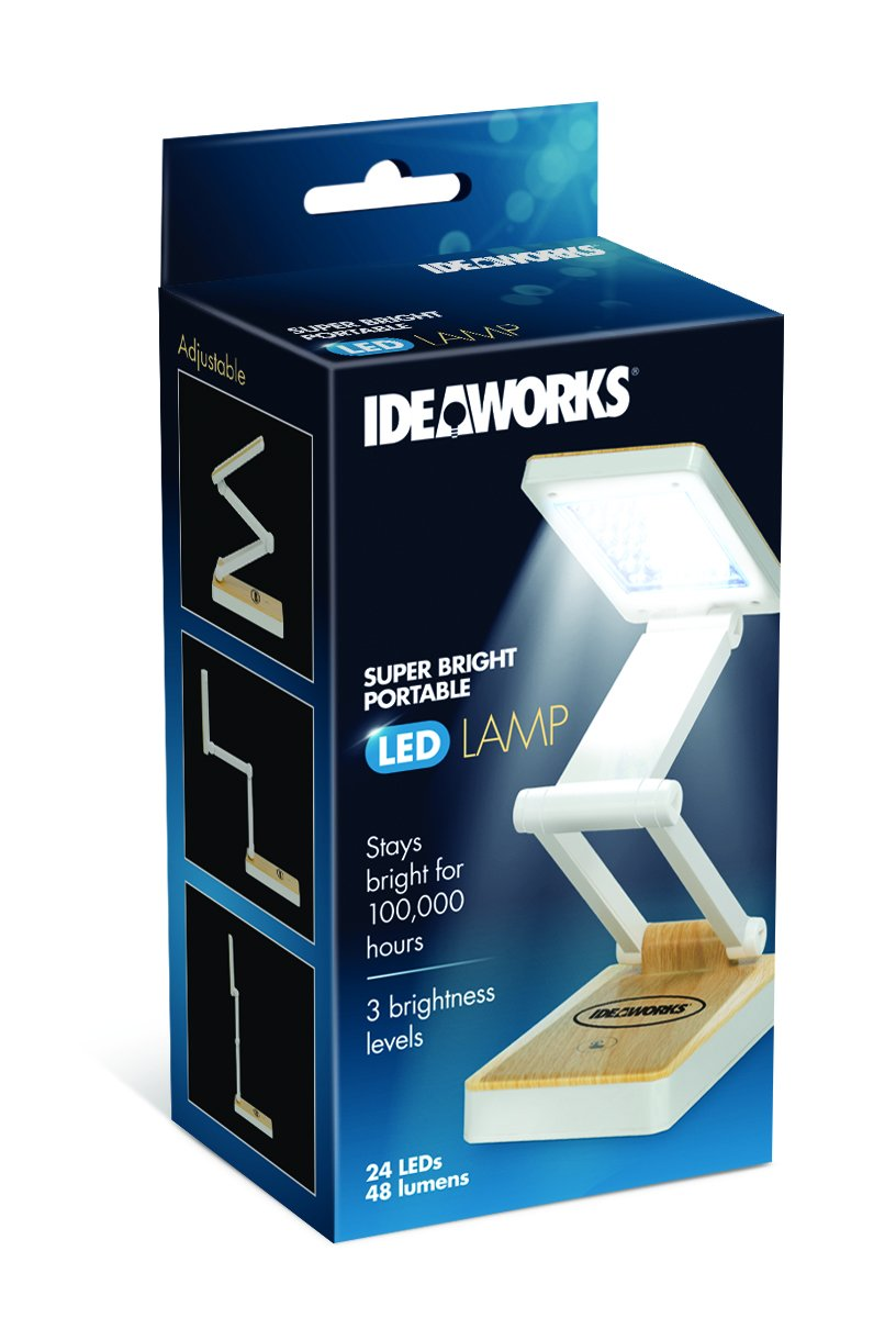 Ideaworks Super Bright Portable LED Lamp - 24 Bright LED Lights - 3 Levels of Brightness - Collapsible Design for Easy Storage & Portability - Wood Grain Finish (White Woodgrain)