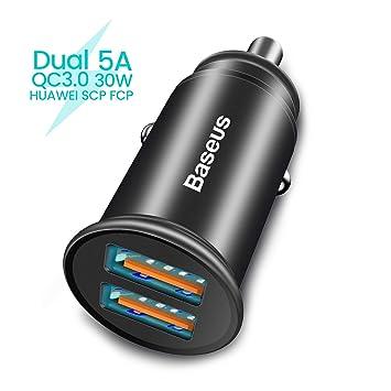 Baseus USB Tipo C Cargador de Coche,Quick Charge 4.0+2.4A 30W Carga Rapida Doble Puertos USB Adaptador cargador de coche con Cable USB C para Samsung ...