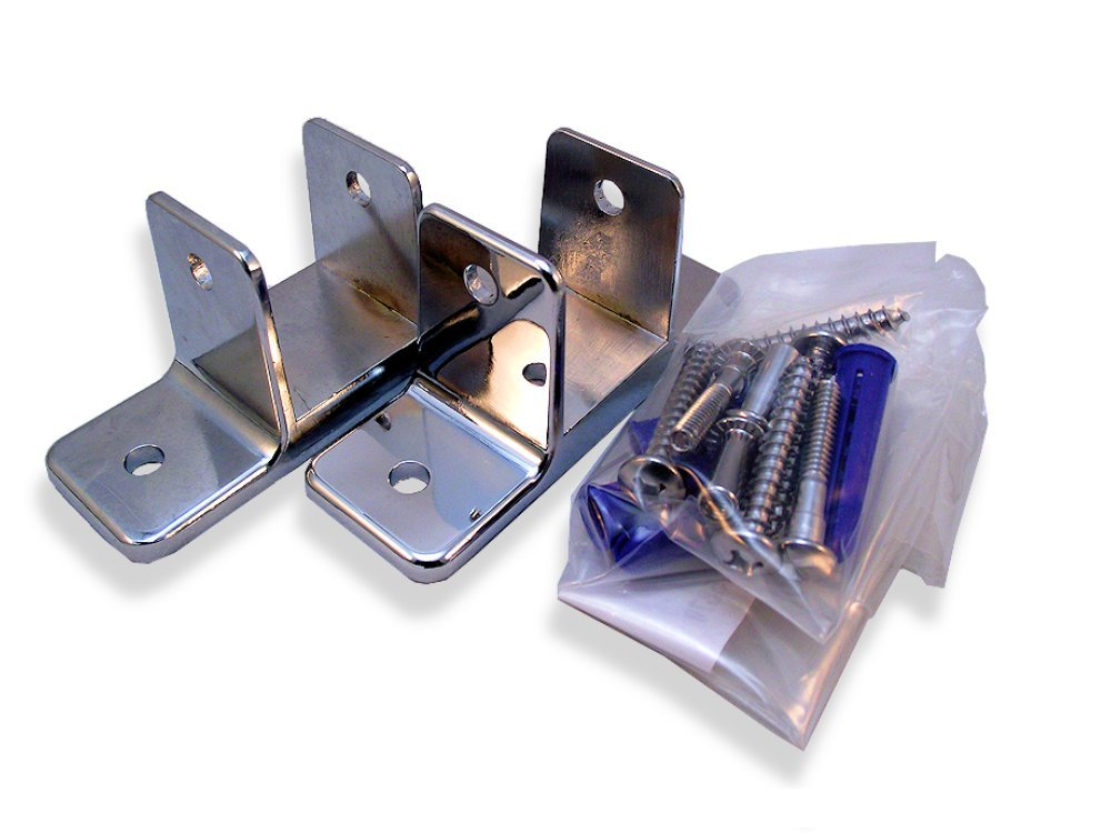 Chrome Plated Zamac Two Ear Pilaster Wall Bracket - Pak/2 - for 1-1/4'' Restroom Partition Panels