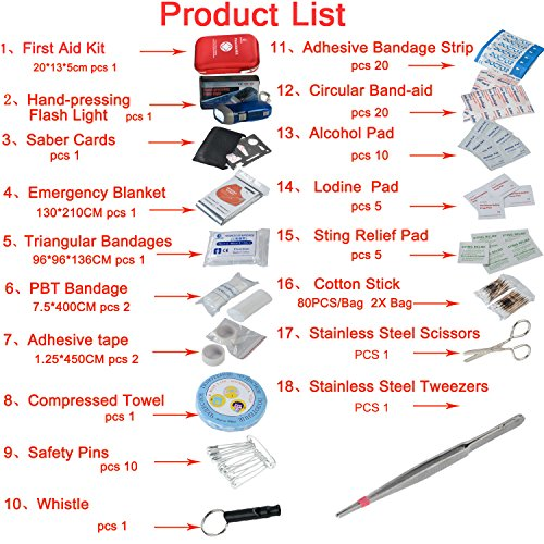 DeftGet First Aid Kit First Aid Kit 163 Piece Waterproof Portable Essential Injuries & Red Cross Medical Emergency equipment kits : For Car Kitchen Camping Travel Office Sports And Home