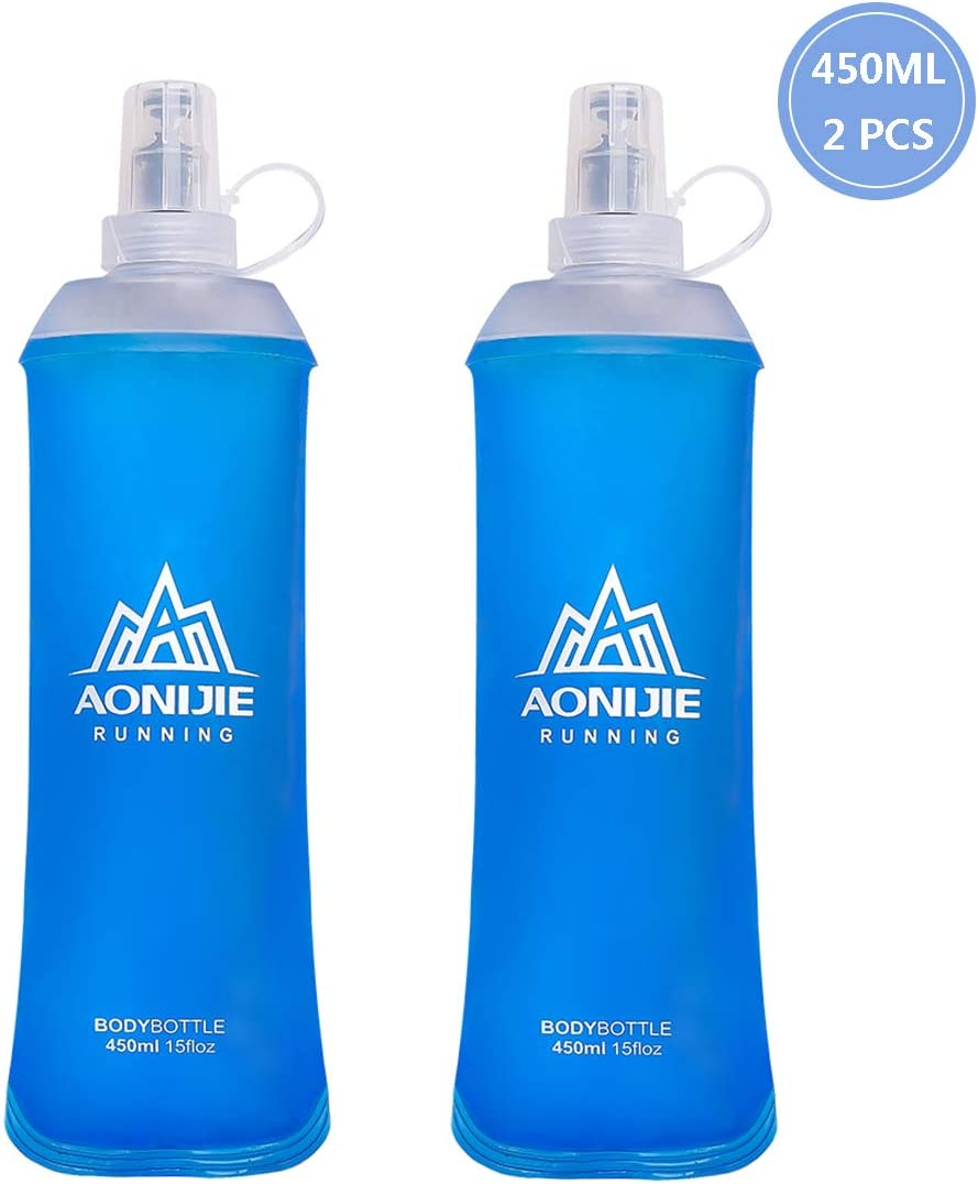 AONIJIE TPU Soft Water Flask, BAP Free, Collapsible Bottle for HydrationPack, Convenient for Running, Cycling, Hiking, Camping, Outdoor Sports and Traveling (450ML-2PCS)