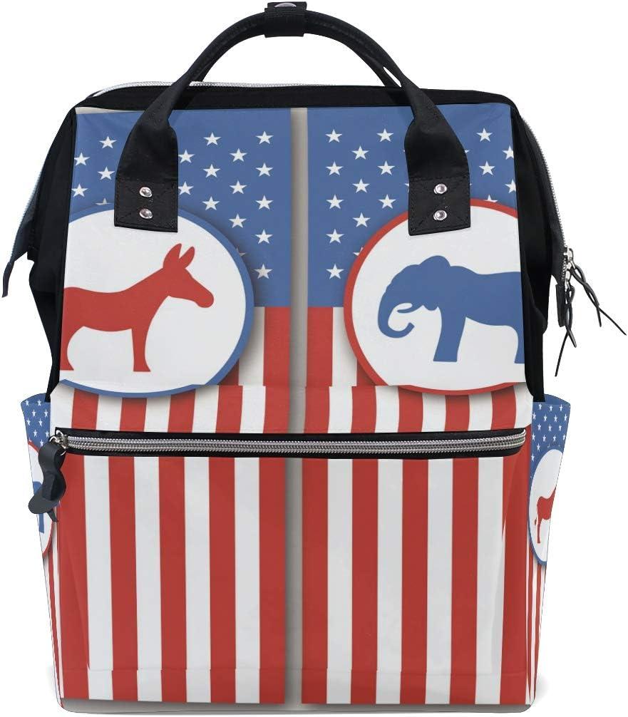 Ahomy - Bolso cambiador, diseño de burro y elefante con bandera estadounidense