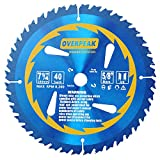 Overpeak 7-1/4 inch 40 Tooth ATB 5/8' Arbor General Purpose Ripping Crosscutting Carbide Tipped Woodworking Circular Saw Blade