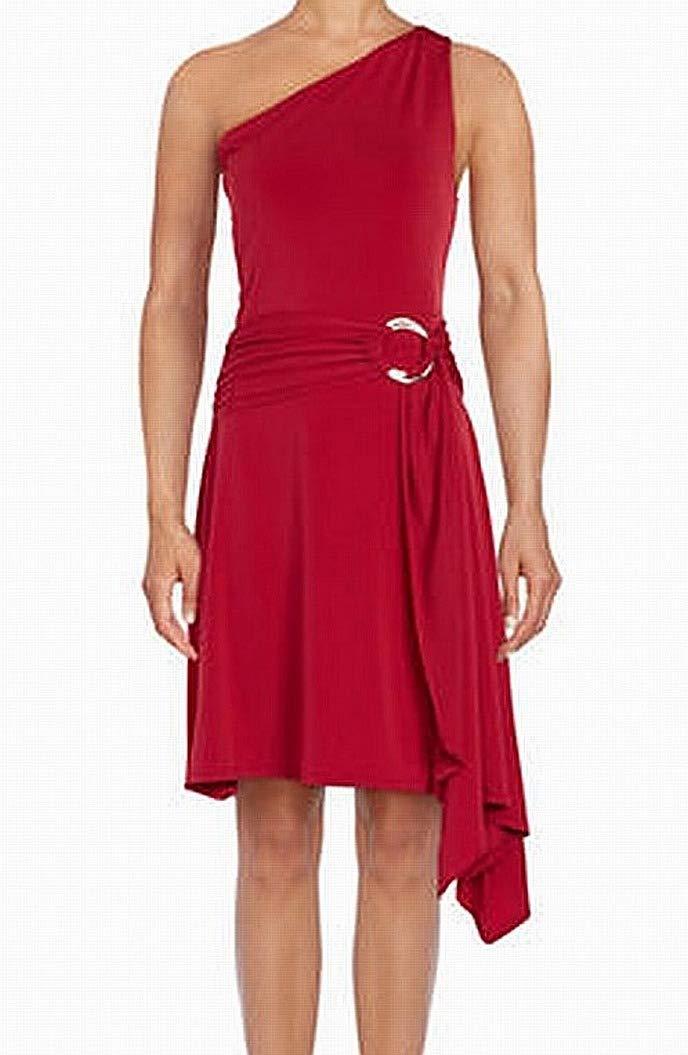 Halston Sash Oner-Shoulder Women's Medium Sheath Dress Red M by Halston Heritage