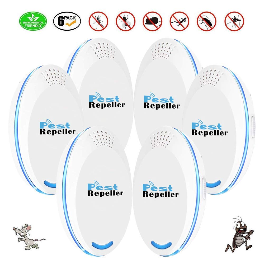 VRURC Ultrasonic Pest Repeller Plug in Pest Control - Mice Repellent & Rat Repellent in Pest Repellent - Bug Repellent for Ant,Mosquito,Mice,Flea,Fly,Spider,Roach,Rat -(6 Pack)