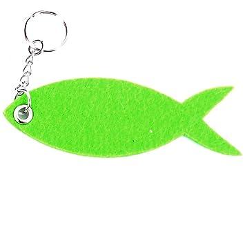 Puerta-Llavero de fieltro, diseño de pez, color verde ...
