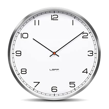 LEFF Amsterdam One45 - Reloj de pared (cifras de acero inoxidable), color blanco