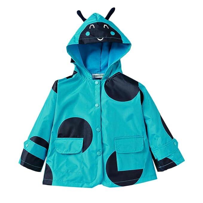 901d4cc9a74c Zhuhaixmy Children Dots Printed Waterproof Poncho Rain Jacket Hooded ...