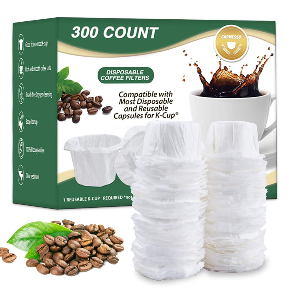 CAPMESSO Disposable Coffee Filters Replacement Paper Filter for Reusable Single Serve K Series Pods Keurig Coffee Maker 300 Count Natural