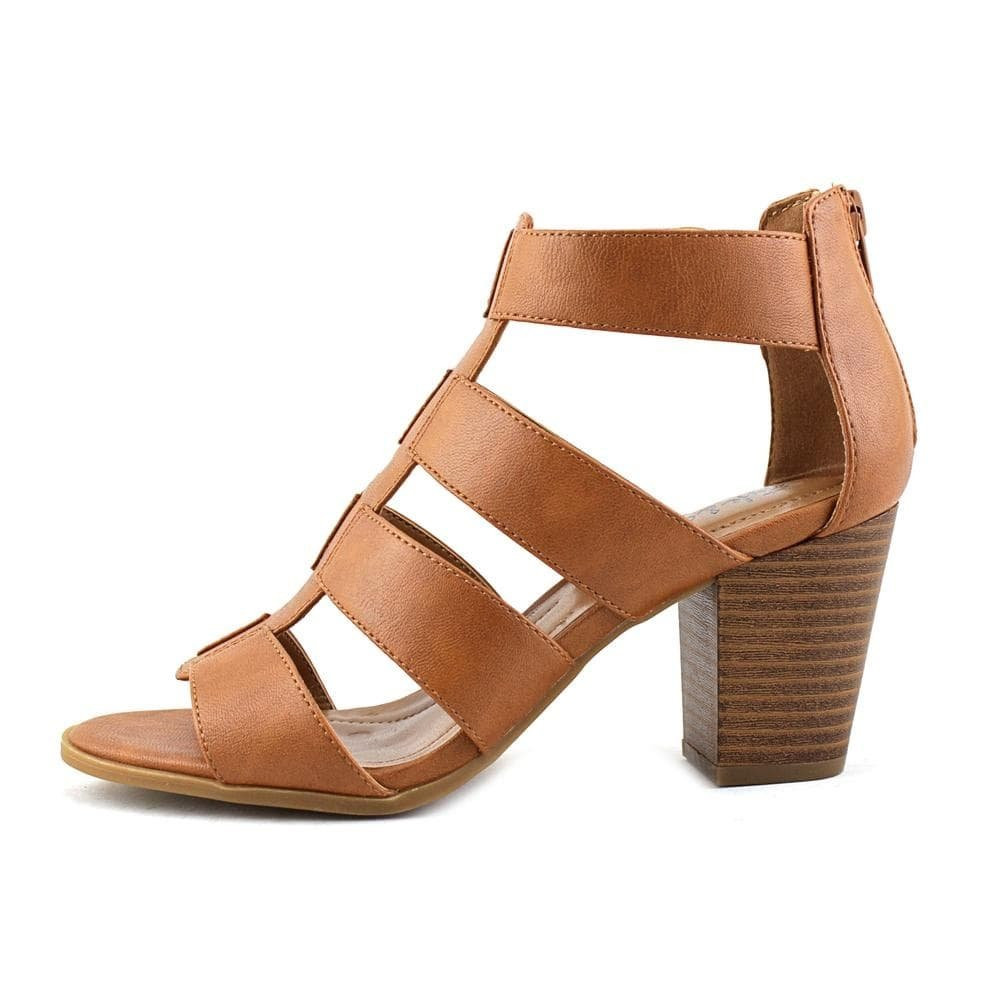 Style & Co. Womens janinaa Leather Open Toe Casual Strappy, Tan/Coffee, Size 7.5