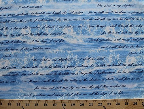 (Cotton Bible Study I & II Psalm 23 Bible Verse Ocean Waves Cotton Fabric Print by the Yard (04886-55))