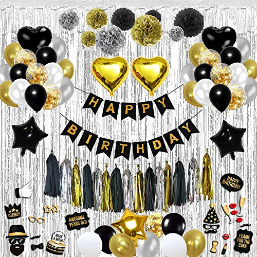 Birthday Decorations Party Kit - Over 100-Piece Black and Gold Party Decorations Set - Includes Wall Curtain,Balloons, Foil Tassels, Photo Props Set, Pom Poms, Happy Birthday Banner - Durable