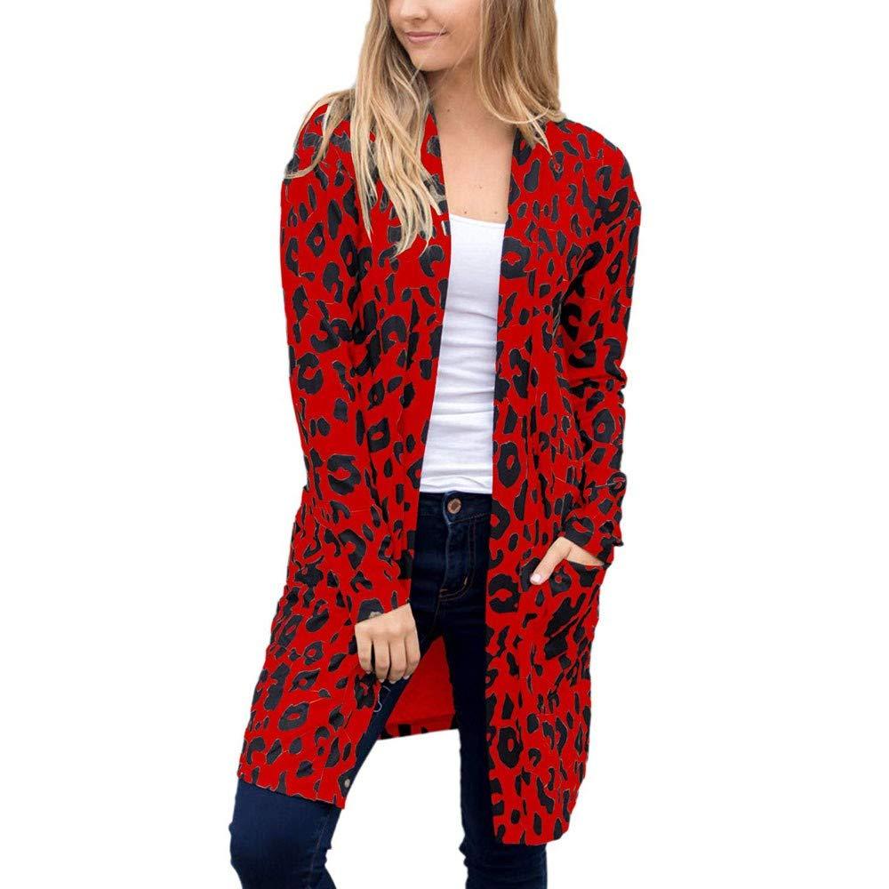 Pervobs Women Leopard Coat Fashion Long Sleeve Pocket Coat Outwear Cardigan Blouse