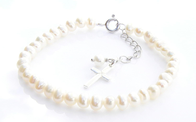 /Bracelet Perles deau douce et argent sterling Croix Charm Charms and Occasions Ltd Ivoire premi/ère communion/