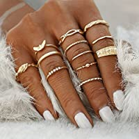 ERAWAN 12Pcs/set Women Fashion Gold Plated Crystal Rhinestone Mid Knuckle Rings Jewelry EW sakcharn