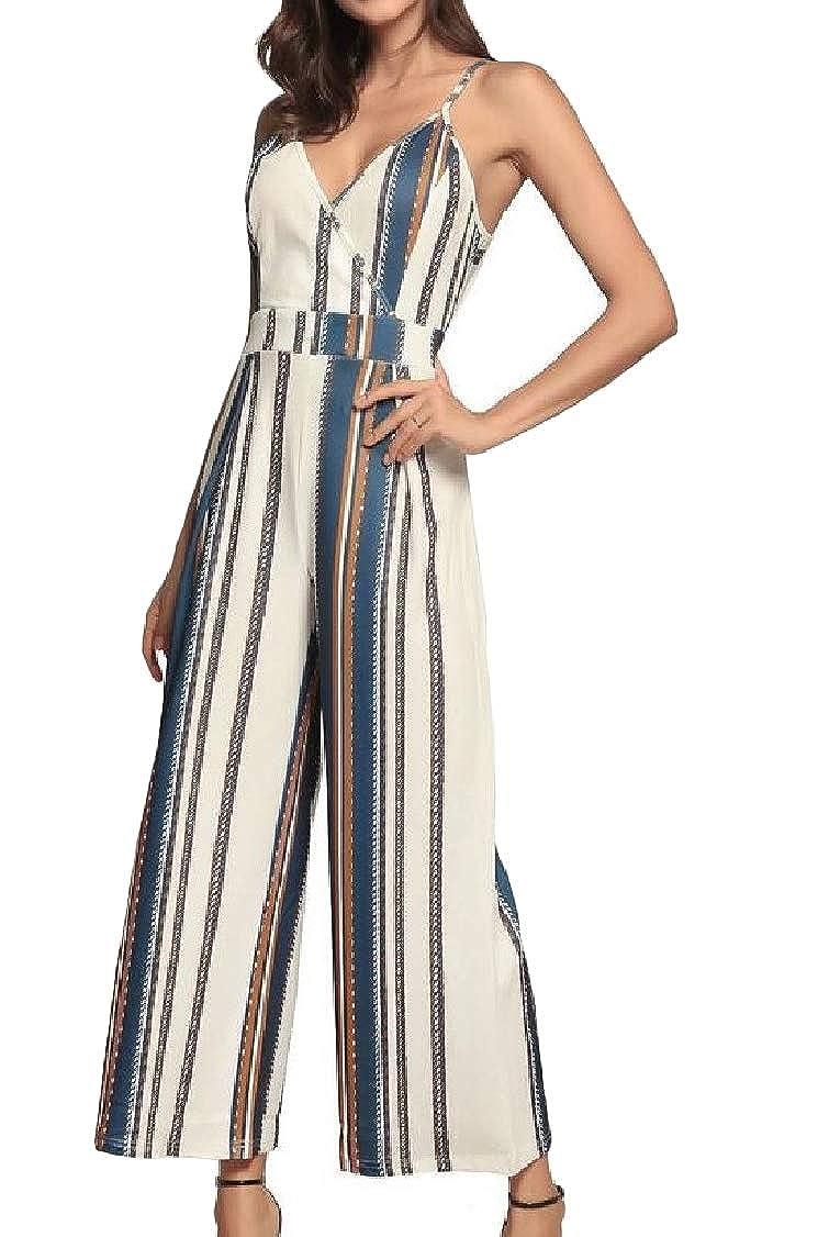 pipigo Women Casual Stripe Spaghetti Strap V Neck Long Rompers Jumpsuits