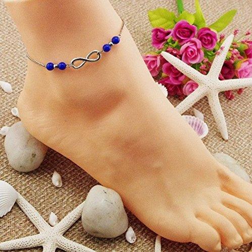 LanLan Fashion Women Infinity Bead Charm Ankle Bracelet Foot Jewelry Sandal Beach Chain ,Main Color:royal blue baeds