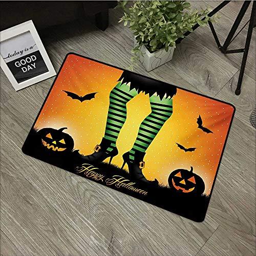 Bathroom Door mat W24 x L35 INCH Halloween,Cartoon Witch Legs with Striped Leggings Western Concept Bats and Pumpkins Print,Multicolor Non-Slip, with Non-Slip Backing,Non-Slip Door Mat Carpet ()