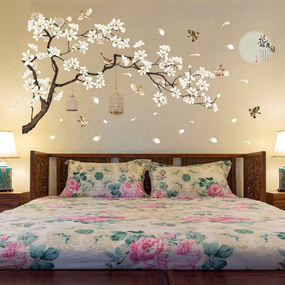 Finduat Chinese Style White Flowers Black Tree and Flying Birds Wall Stickers Removable DIY Wall Art Decor Decals Murals for Offices Home Walls Bedroom Study Room Wall Decaoration