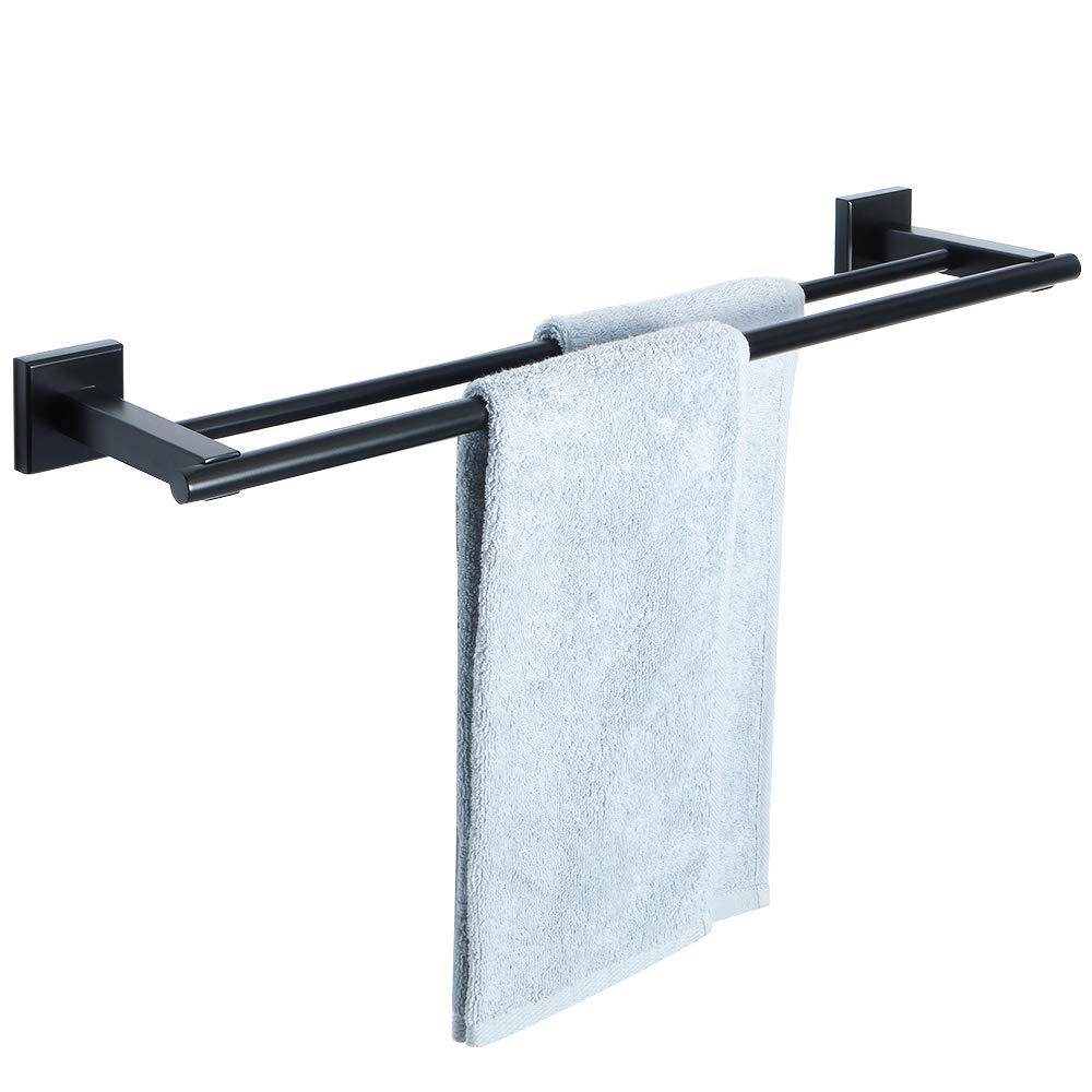 Alise Bathroom Double Towel Bar Towel Rack Wall Mount Towel Hanger Rail 24-Inch,SUS304 Stainless Steel Matte Black GD2100F-B