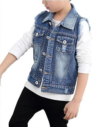 c72c7a3b36815 Veste en Jeans Garçon Enfant sans Manche Jackets Manteau Blouson Boutonnage  Coats Un Jean Bleu S