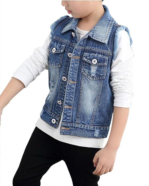 44a13df662 ZiXing Ragazzi Gilet in Jeans con Tasche Giacca Denim Cappotto Jeans ...