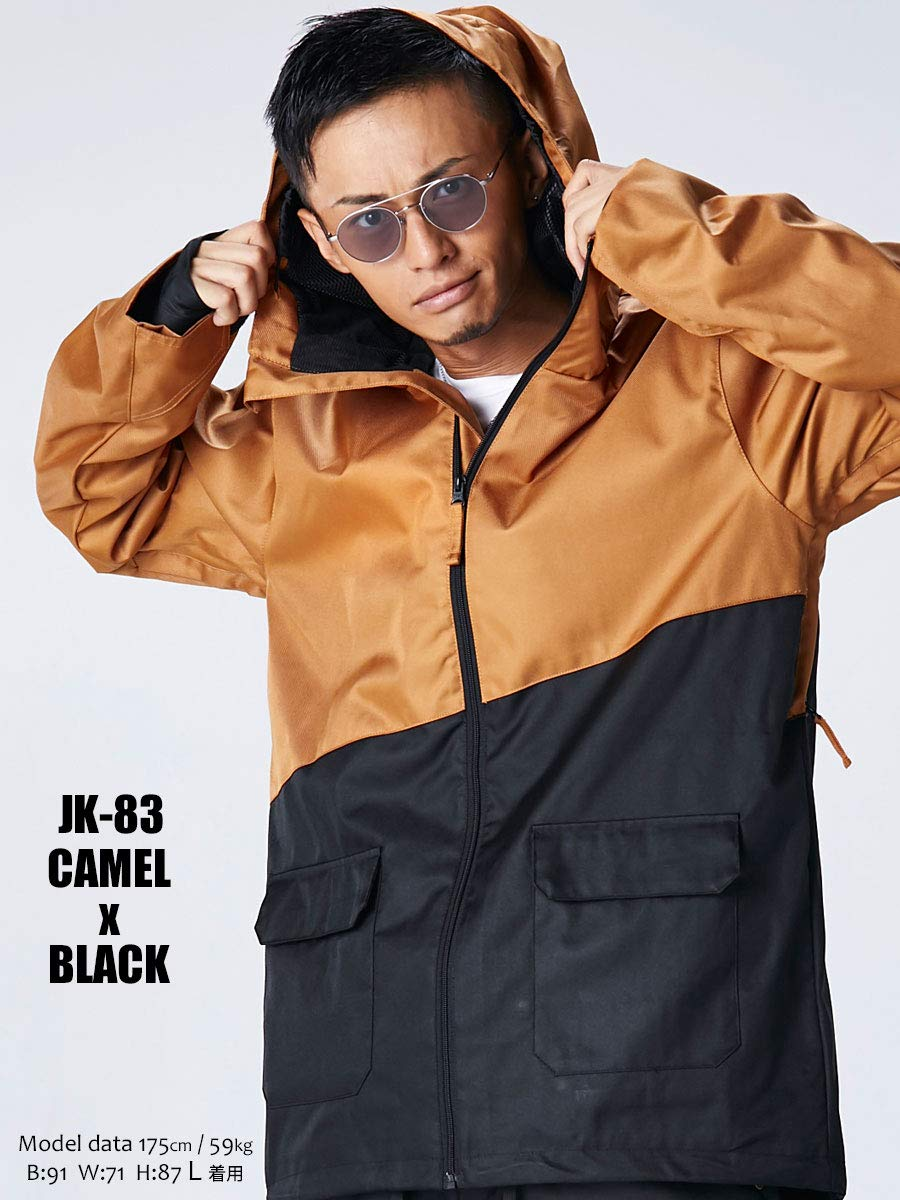 スノーボード ウェア メンズ ジャケット キャメルxブラック 6サイズ(XXS~XL) スノボウェア メンズ レディース 18-19 le-Rhythm リアリズム 上 2JK83 [JK-83]キャメルxブラック Medium
