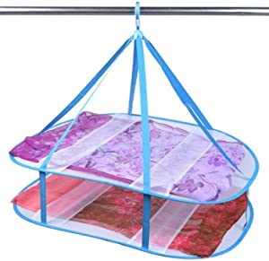 DELIWAY Large Size Sweater Hanging Dryer, Drying Rack Folding Mesh Clothes Basket Nets Hanger, Perfect Drying Surface Lay Flat to Dry (2 Tier, Blue)