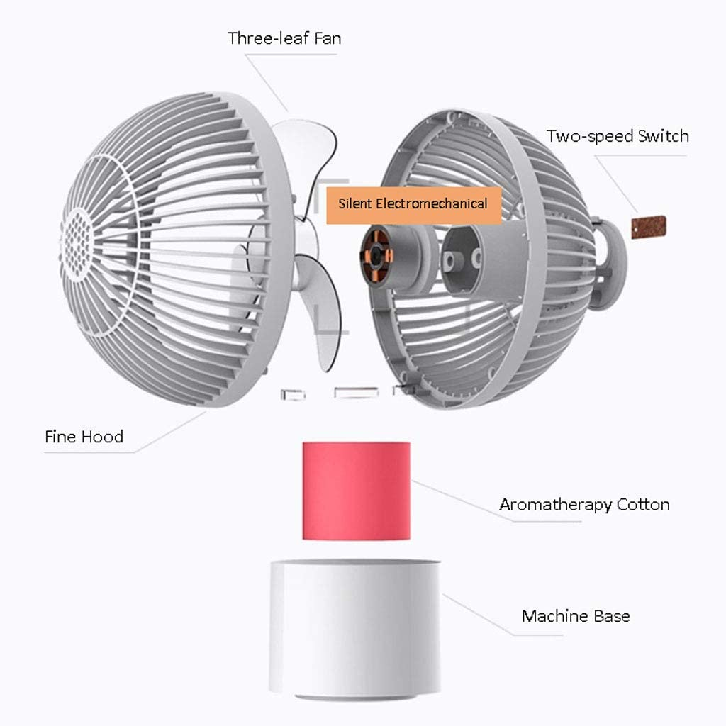 Hand-held Detachable Fan White Color : White, Size : 9.524.5cm USB Rechargeable Silent Fan Zyj stores Aromatherapy Mini Fan