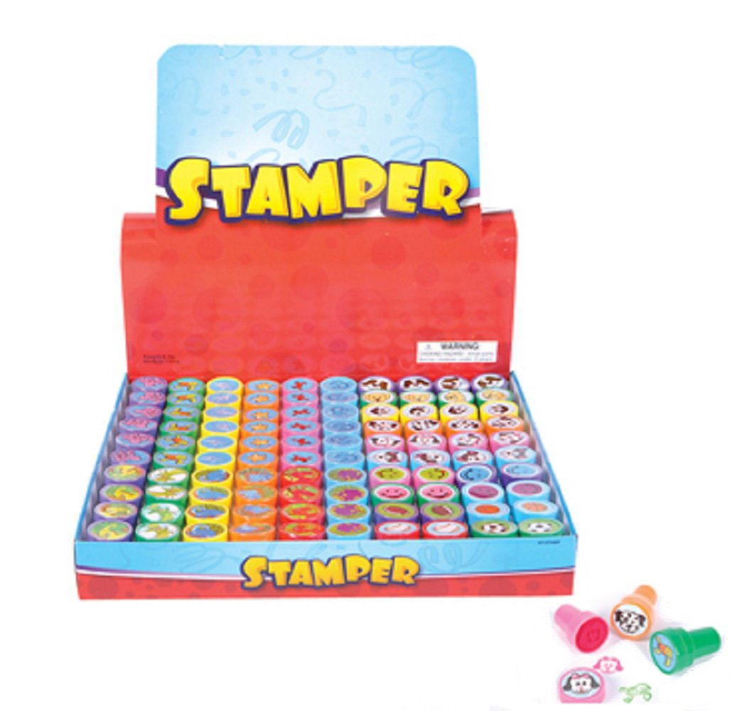 100 Kids Stampers - Assorted Stamps for Kids - Bulk Stamps - Carnival Prizes