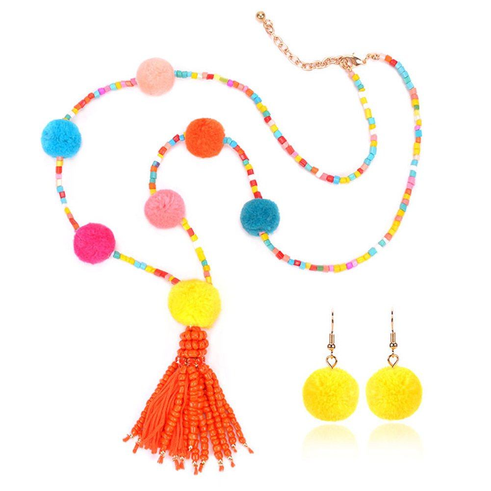 ANDAY Womens Fancy Bohemian Handmade Pompom Beads Long Pendant Necklace and Earrings Jewelry Set SP09