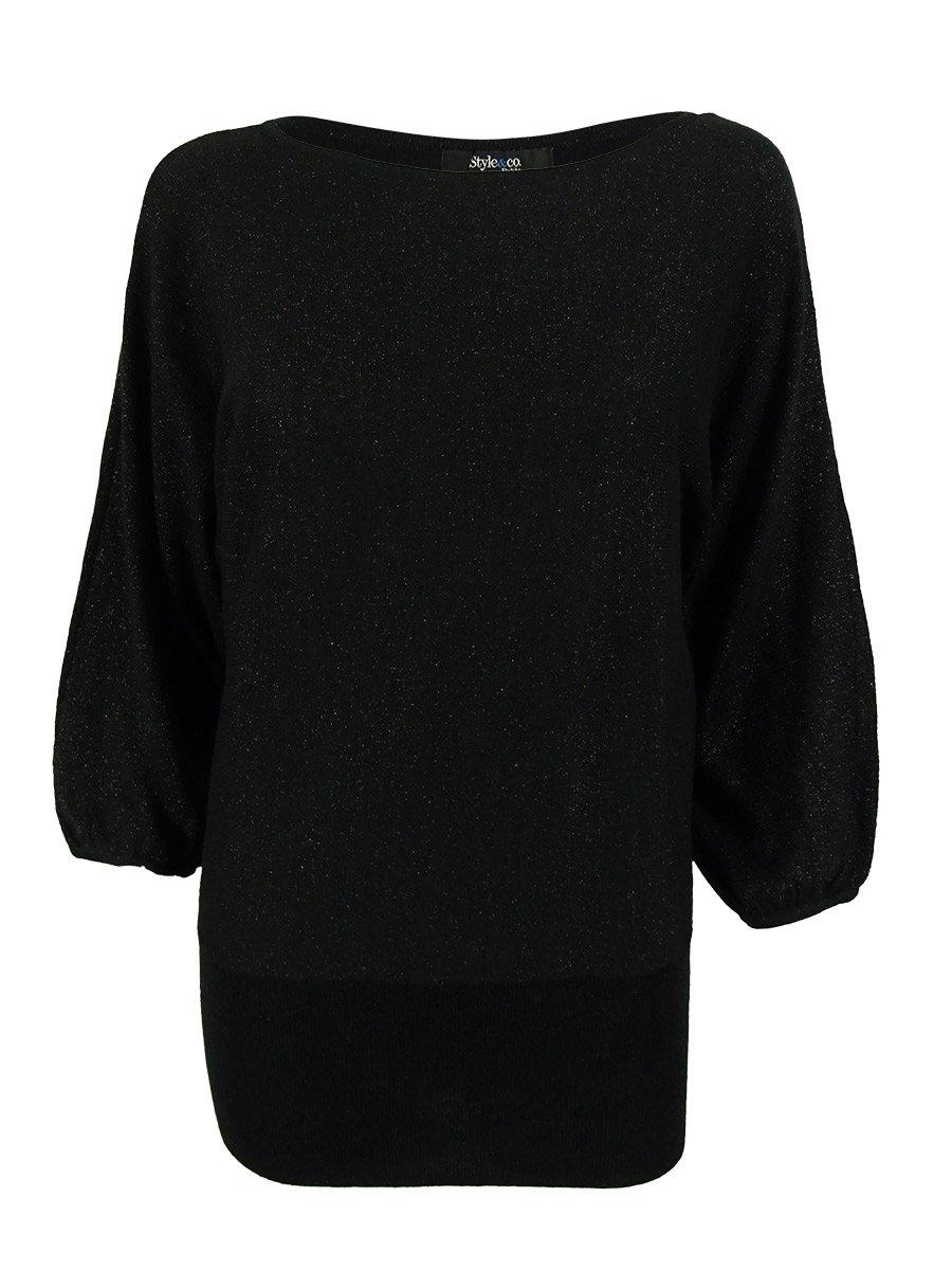 Style & Co. Women's Dolman Sleeve Metallic Sweater (PM, Deep Black Metallic)