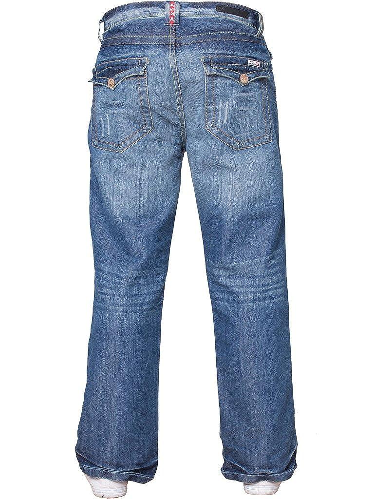 85c820aabb0 New Mens Designer Basic Bootcut Flared Wide Leg Blue Denim Jeans All Waist  Sizes  Amazon.co.uk  Clothing