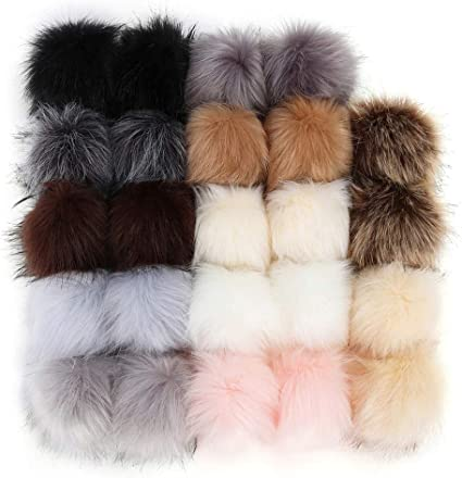20 Pieces Faux Fox Fur Pom Pom Balls 3.9 Inch DIY Faux Fox Fur Fluffy Pom Pom with Elastic Loop for Hats Shoes Keychains Scarves Gloves Bags Accessories 10 Colors