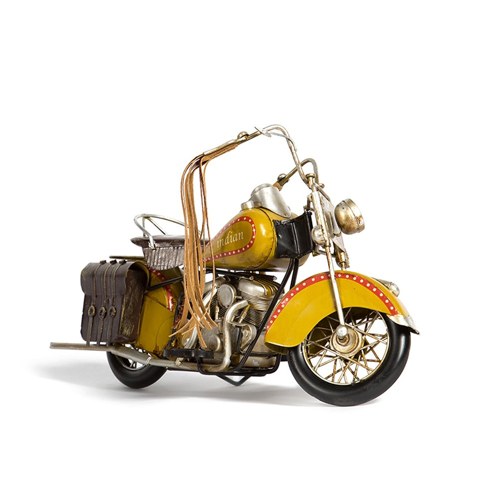 Mydears Harley Motorcycle Model Metal Antique Crafts Handicraft Vintage Iron Moto Car Ornament Collectible Art (yellow)