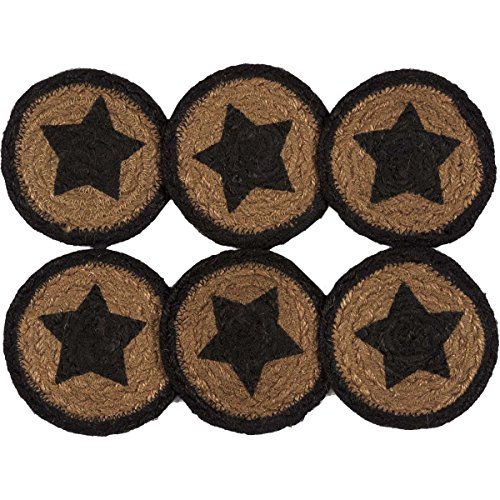 - VHC Brands Country Black Primitive Classic Tabletop & Kitchen Farmhouse Stencil Star Jute Coaster Set of 6, Red