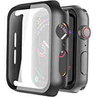 Misxi Hard PC Case with Tempered Glass Screen Protector for Apple Watch Series 6 SE Series 5 Series 4 44mm - Black