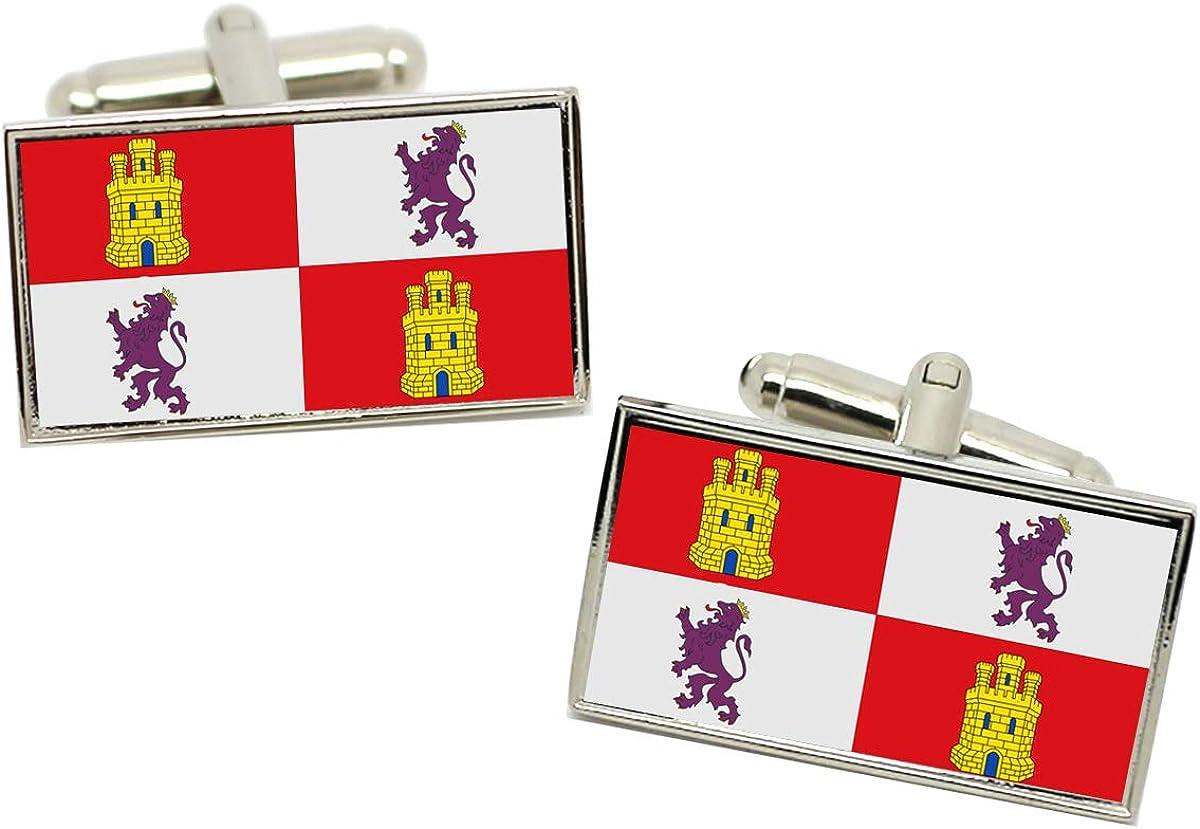 Castilla y León Castilla y León (España) Bandera Gemelos en una Carcasa Cromo: Amazon.es: Ropa y accesorios