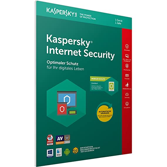 Kaspersky Internet Security 2018 Standard   1 Gerät   1 Jahr   Windows/Mac/Android + Mobiler Schutz   Download