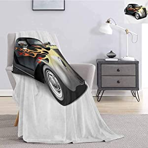 Luoiaax Vintage Commercial Grade Printed Blanket Retro 40s Fashionable Drag Car with Ombre Flames Print Artwork Queen King W70 x L84 Inch Black Silver Red and Orange