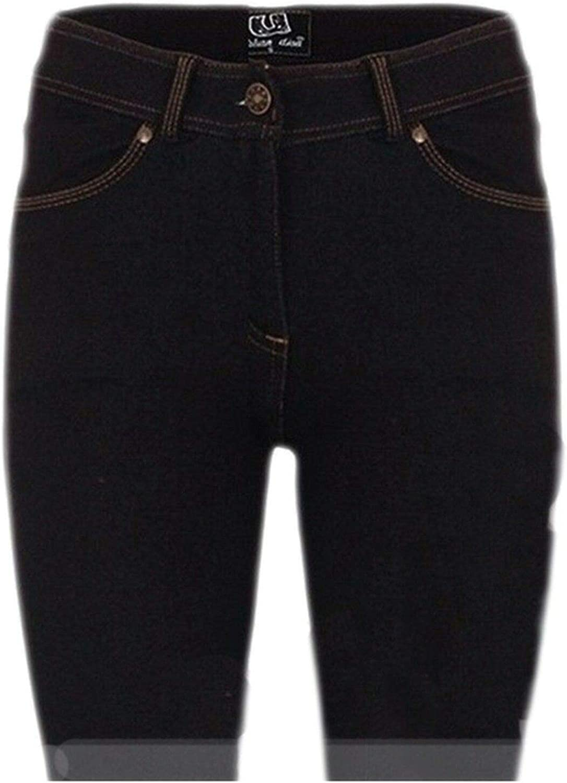 UK Dispatch Girls Womens New Soft Stretch Knit Denim Knee Length Black Shorts Ladies