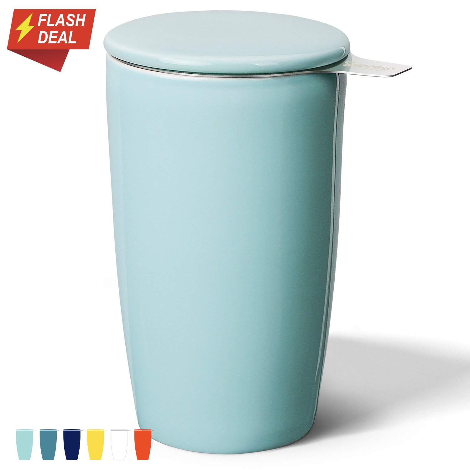 Sweese 2502 Porcelain Tea Infuser Mug - Double-Walled Insulated Cup with Deep Stainless Steel Infuser and Lid - 15oz, Turquoise