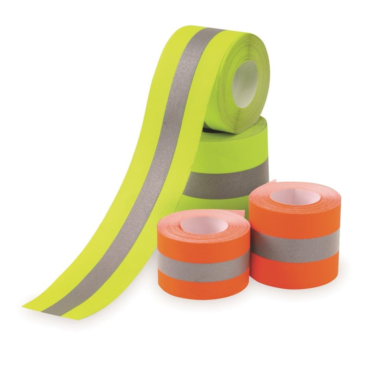 Sew on High Visibility Hi Vis Retro reflective fabric tape (2'' x 10 yds, Lime/Silver)