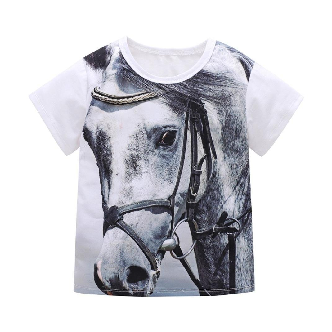 Baby Boys Shirts for 1-5Years Kids, Iuhan 3D Animal Print Blouse Tops Children Boys Girls Tiger T-Shirt Tops Outfits Casaul Clothes (4-5Years, Black-Horse) Iuhan ®