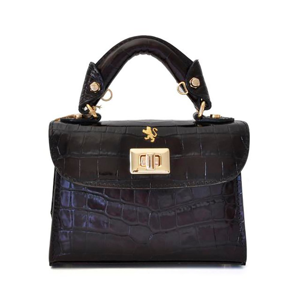 Pratesi Womens [Personalized Initials Embossing] Italian Leather Lucignano Croco Small Handbag in Black