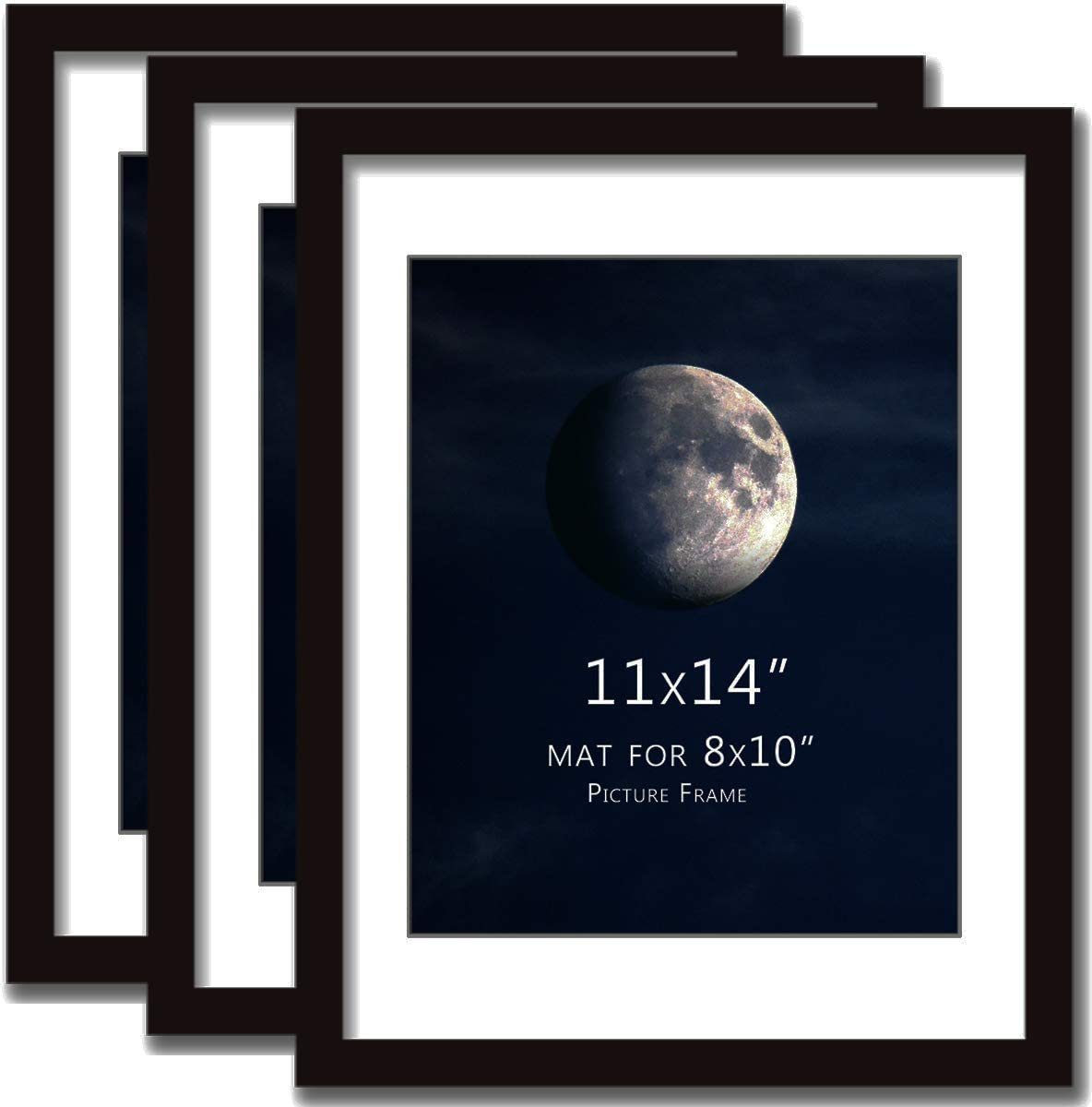 Plexiglass 11x14 Frame Black(3 Pack) Solid Wood with MAT for 8x10in Document Poster Photo Picture Frames 14x11 Desktop Table and Wall Mounting