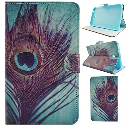 Fasinon Stand Wallet Case for Samsung Galaxy Tab 3 7.0 T210/T217/P3200/P3210 with Free Gift from UUcovers(TM),[not Fit Galaxy Tab 3 Lite SM-T110 ] (Peacock Feathers)